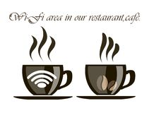 A Cup of coffee with the information of the. Cup of coffee with the icon of the wireless network for the design of your institution royalty free illustration