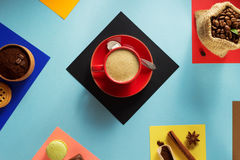 Cup of coffee and ingredients Stock Images