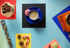 Cup of coffee and ingredients Stock Image