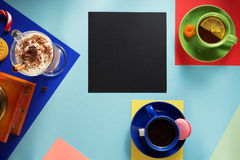 Cup of coffee and ingredients Stock Photos