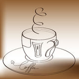 A cup of coffee with inscription. Decorative illustration with a cup of coffee with inscription Stock Images