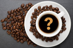 Cup of coffee with interrogation point Royalty Free Stock Photography