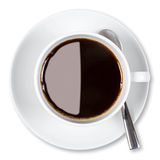 Cup of coffee isolated clipping path. Overhead photo of a cup of black coffee, isolated on a white background with clipping path Royalty Free Stock Photo