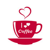 Cup of coffee isolated. Coffee cup icon. Cup of hot drink. Coffee with hearts. icon A cup for lovers. Vector illustration Stock Images