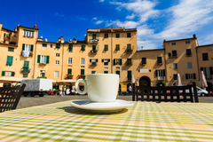 Cup of coffee italian terrace Stock Photos