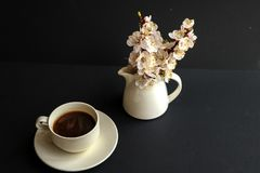 A cup of coffee and a jug with bouquet of apricot flowers. stock photo