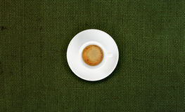 Cup of coffee on jute fabric Royalty Free Stock Photo