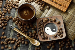 Cup of Coffee. On the kitchen table royalty free stock photos