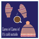 Cup of coffee, knitted hat and mittens Stock Photo