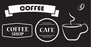 Cup of coffee, labels, badges Royalty Free Stock Photo