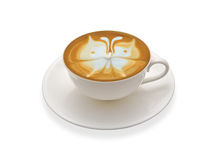 Cup of coffee. Latte art , coffee isolated on white background royalty free stock image