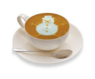 Cup of coffee. Latte Art, coffee isolated on white background,Snow man stock photos