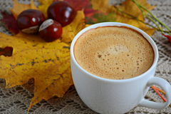 Cup of coffee with leaves and chestnuts Stock Image