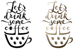 A cup of coffee with lettering above it Stock Photo