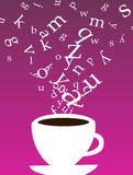 Cup of coffee with letters stock illustration