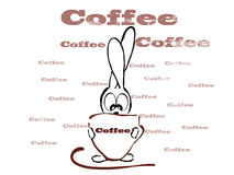Cup of coffee and little rabbit, fun Royalty Free Stock Images