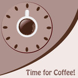 A cup of coffee looking like a clo. Background with a cup of coffee looking like a clock Royalty Free Stock Images