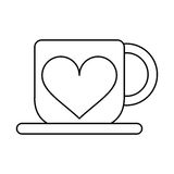 Cup Coffee Love Heart Hot Outline Stock Photo