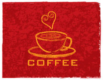Cup of Coffee with Love on Red Background Illustration Royalty Free Stock Photography