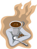 Cup of coffee with love vector. Cup of aromatic coffe, coffee beans and spoon on a two-color background. Vectorial illustration handmade from my sketch. All Stock Photography