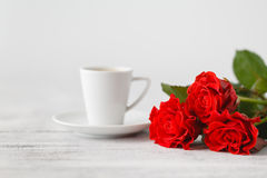 Cup of coffee from lover on valentines day Stock Images