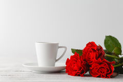 Cup of coffee from lover on valentines day Royalty Free Stock Photography