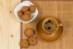Cup of coffee and low-calorie cookies made from cereals Stock Image