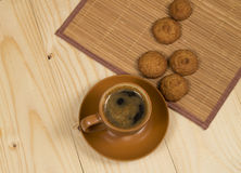 Cup of coffee and low-calorie cookies made from cereals Royalty Free Stock Photo