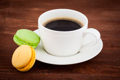 Cup of coffee with macarons Stock Photography