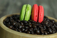 Cup of coffee and macaroon. On the table Royalty Free Stock Photo