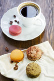 Cup of coffee and macaroon Stock Image