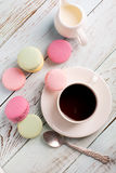 Cup of coffee and macaroons Royalty Free Stock Photography