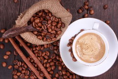 Cup of coffee made from fresh roasted coffee beans Stock Photo
