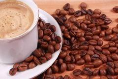 Cup of coffee made from fresh roasted coffee beans Royalty Free Stock Photo