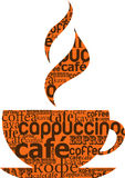 Cup of coffee made from typography Stock Images