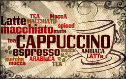 Cup of coffee made from typography Royalty Free Stock Image