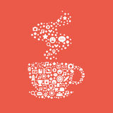 Cup of coffee made ​​up of a set of icons for  Royalty Free Stock Photos