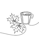 Cup of coffee and maple leaves. Autumn background with cup of coffee and bright maple leaves. Continuous line drawing. Vector illustration Royalty Free Stock Image