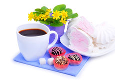 Cup of coffee with marshmallow, chocolate sweets, yellow wildflowers Stock Images