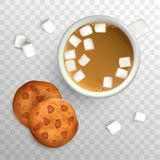 Cup of coffee with marshmallow and cookies with chocolate. Top view. Cup of coffee and cookies for breakfast, isolated. Vector illustration Stock Photography