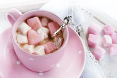 Cup of coffee with marshmallow Stock Image
