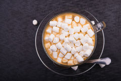 Cup of coffee with marshmallow Royalty Free Stock Images