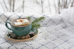 Cup of coffee with marshmallow on a white lace and Christmas tree branches. Royalty Free Stock Photo