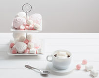 Cup of coffee with marshmallow Royalty Free Stock Image