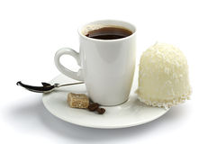 Cup of coffee and marshmallows. With coconuts on white Royalty Free Stock Images