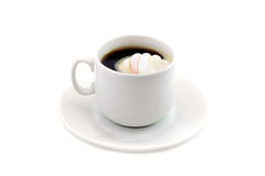 Cup of coffee with marshmallows isolated on a white background Royalty Free Stock Photography