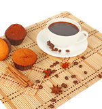 Cup of coffee on mat Royalty Free Stock Image