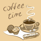 Cup of coffee for menu.Vector illustration. Royalty Free Stock Image