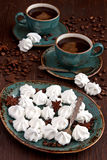 Cup of coffee with meringue cake Royalty Free Stock Photo