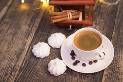 Cup of coffee with meringue Royalty Free Stock Images